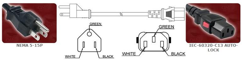 NEMA 5-15p Power Cord